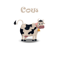 cute cow with bell