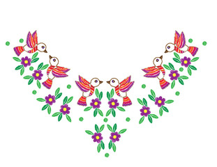 Colorful bird and flower with leaf and dot embroidery stitches imitation