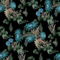 Watercolor seamless floral pattern with flowers of chrizantenium on black