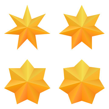 Set of four golden seven point stars.