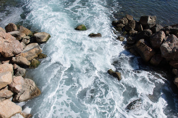 Stormy water flow in the Mediterranean Sea on the coast of Spain