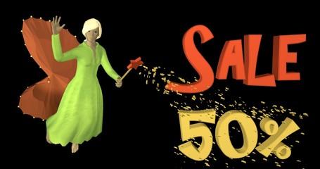 3d-Illustration,  schöne Fee zaubert 50% Sale