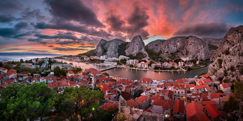 Fototapete - Aerial View of Omis and Cetina River at Dramatic Sunset, Dalmatia, Croatia