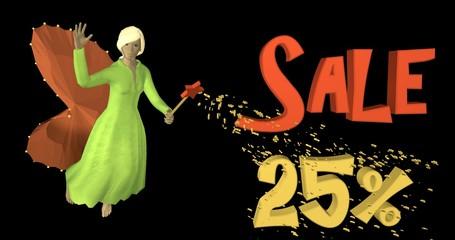 3d-Illustration,  Fee zaubert mit Zauberstab Sale 25%