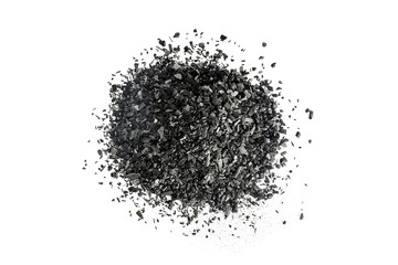 Pile of Carbon charcoal on white background