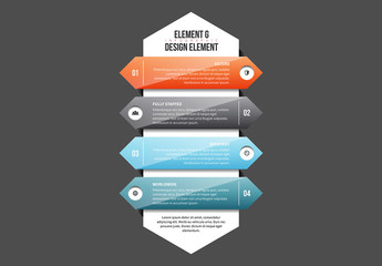 Stacked Glossy Arrow Infographic Element