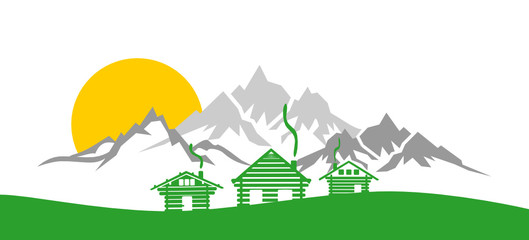 SIlhouette Berge und Hütten Wall mural