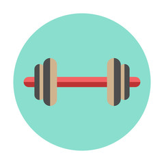 Dumbbell icon on a round color background. Flat simple button, v