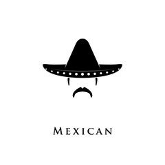 Mexican Sombrero hat with mustache icon
