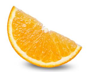 segment of fresh orange isolated on white background
