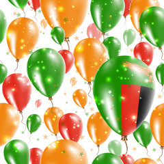 Zambia Independence Day Seamless Pattern. Flying Rubber Balloons in Colors of the Zambian Flag. Happy Zambia Day Patriotic Card with Balloons, Stars and Sparkles.