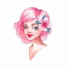 Romantic girl. Cute cartoon illustration. Watercolor female face