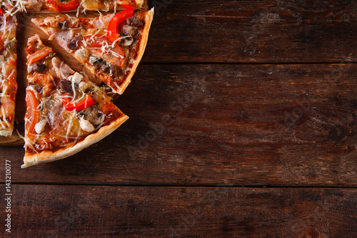 Italian Traditional Food Background Slices Of Appetizing Pizza On Rustic Wooden Table Flat Lay