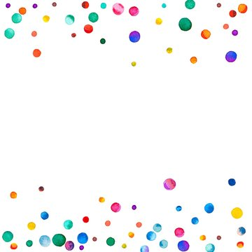Sparse watercolor confetti on white background. Rainbow colored watercolor confetti scattered border. Colorful hand painted illustration.