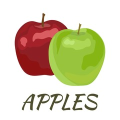 Apples. Flat design. Vector illustration. Ripe fruits for Your ideas.