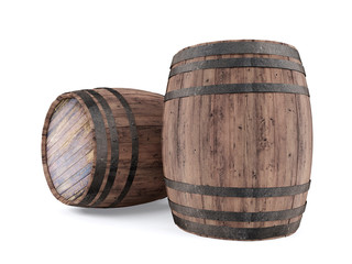 Wooden barrel isolated on white background, 3D rendering