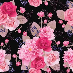 Seamless floral pattern with roses and peonies. Flower vector background. EPS 10 vector.
