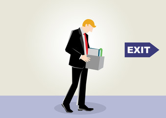 Simple business catroon illustration of a businessman walk sad because of unemployed or fired