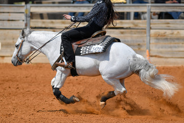 A side view of a rider sliding the horse in the dirt