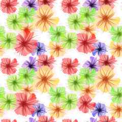 Colorful petunia flowers. Vector background, multicolor seamless pattern