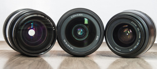 Photo lenses in line