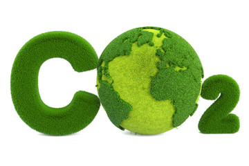 CO2 from grass inscription with globe, eco concept. 3D rendering