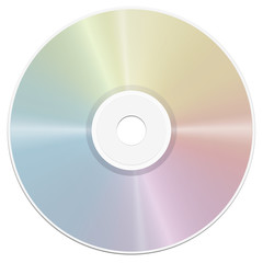 Compact disc - rainbow gradient surface reflection- realistic isolated vector illustration on white background.