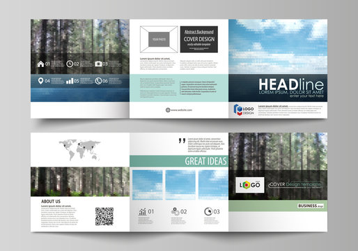 Templates for tri fold square design brochures. Leaflet cover, vector layout. Colorful background made of triangular or hexagonal texture, travel business, natural landscape, polygonal style.