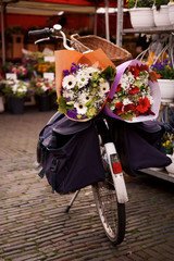 Flower bouquets on back of bicycle