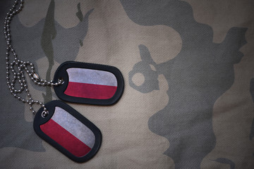 army blank, dog tag with flag of poland on the khaki texture background. military concept