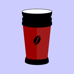 Thermos for tea coffee simple icon on round background