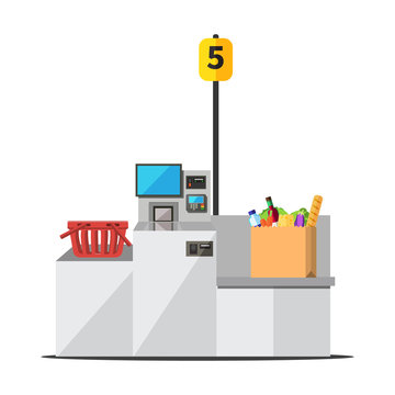 Vector big paper shopping bag full of grocery standing on a grey metal self checkout machine with cash and card payment, and bagging area. Empty red shopping bag is placed on the other side