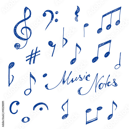 Hand Drawn Music Notes Set Sketch Vector Illustration Stockfotos