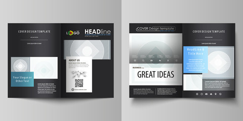 Business templates for bi fold brochure, magazine, flyer, booklet. Cover design template, abstract vector layout in A4 size. Minimalistic background with lines. Gray geometric shapes, simple pattern.