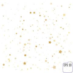 Gold stars. Confetti celebration, Falling golden abstract decoration for party, birthday celebrate, anniversary or event, festive. Festival decor. Vector