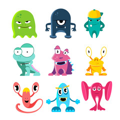 Cute cartoon monsters, vector illustration of funny characters