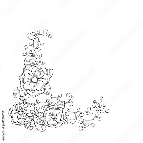 Antistress Coloring Book Page Design For Adults With Flower Branch Blossoming Black And White