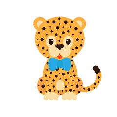 cartoon leopard  with tie
