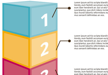 Multipurpose Three Numbered  Stacked Cubes Infographic