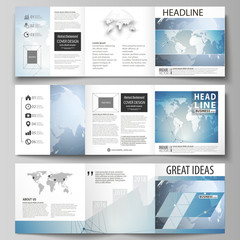 The minimalistic vector illustration of the editable layout. Three creative covers design templates for square brochure or flyer. Scientific medical DNA research. Science or medical concept.
