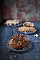 Pecan pastry in rustic setting with old wood