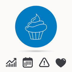 Cupcake icon. Dessert cake sign. Delicious bakery food symbol. Calendar, attention sign and growth chart. Button with web icon. Vector