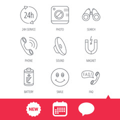 Phone call, battery and faq speech bubble icons. 24h service, photo camera and sound linear signs. Smile and search icons. New tag, speech bubble and calendar web icons. Vector