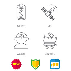 Worker, minerals and GPS satellite icons. Battery linear sign. Shield protection, calendar and new tag web icons. Vector