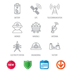 Worker, minerals and engineering helm icons. GPS satellite, electricity station and factory linear signs. Telecommunication, battery icons. New tag, shield and calendar web icons. Download arrow