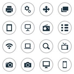 Vector Illustration Set Of Simple Technology Icons. Elements Tuner, Camera, Schedule And Other Synonyms Device, Radio And Mobile.