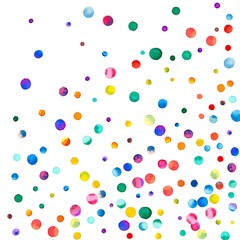 Sparse watercolor confetti on white background. Rainbow colored watercolor confetti abstract random scatter. Colorful hand painted illustration.