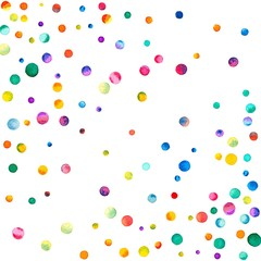 Sparse watercolor confetti on white background. Rainbow colored watercolor confetti scattered pattern. Colorful hand painted illustration.