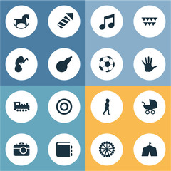 Vector Illustration Set Of Simple Child Icons. Elements Fetus, Train, Ferris Wheel And Other Synonyms Pram, Clyster And Holidays.