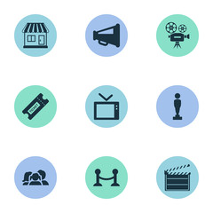 Vector Illustration Set Of Simple Film Icons. Elements Megaphone, Family, Action And Other Synonyms Reward, Coupon And Rope.